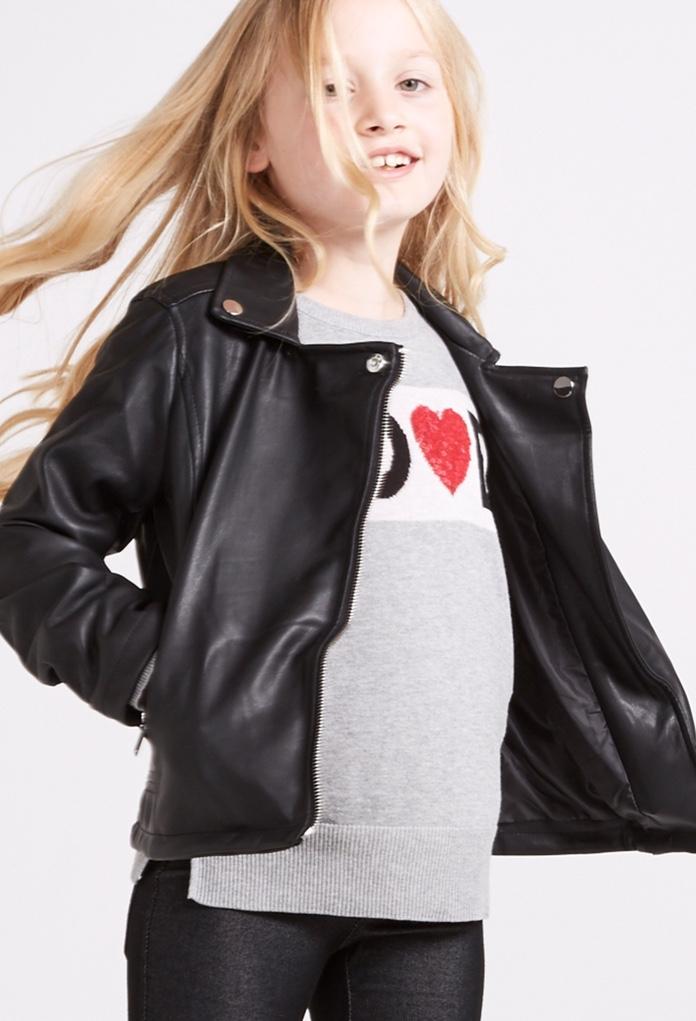 Veste en simili cuir pour petite fille