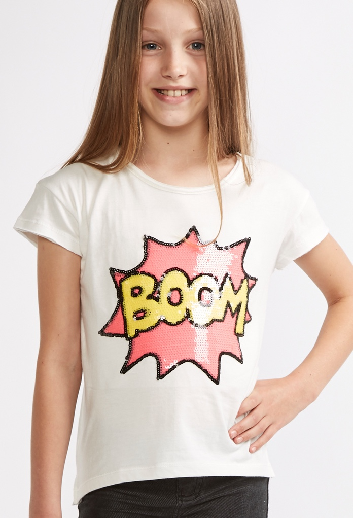 t shirt blanc boom avec strass pour enfant kid canaille. Black Bedroom Furniture Sets. Home Design Ideas