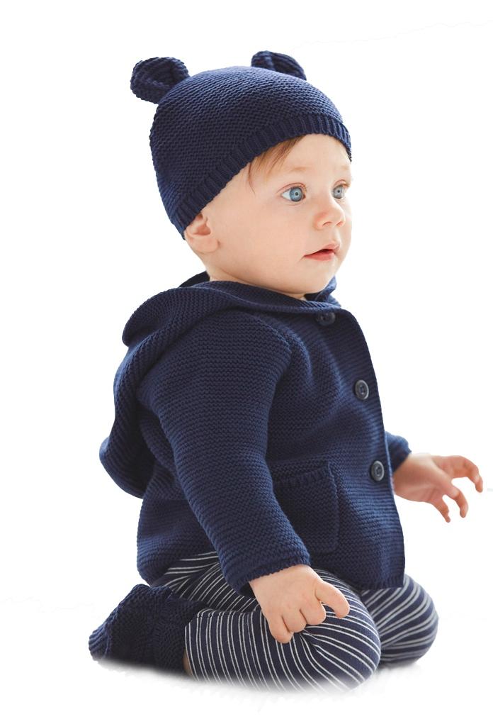 Gilet bleu Cozy Bear à capuche