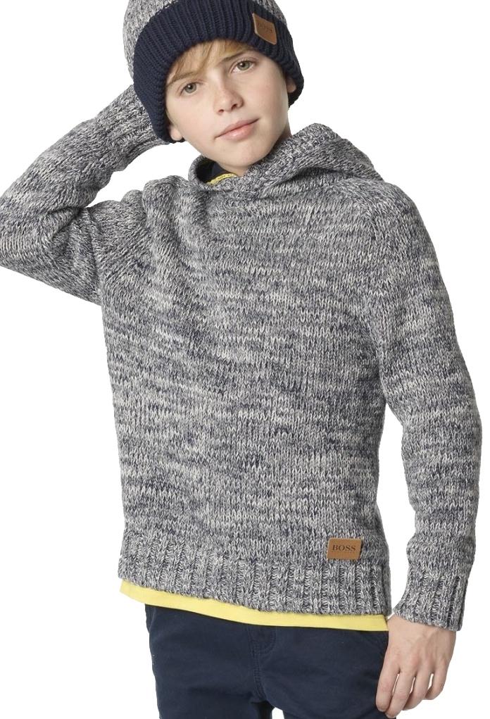 Pull tricot gris à capuche Boss