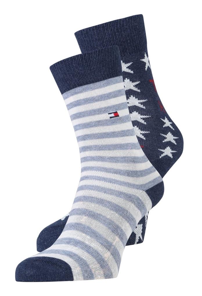 Pack de 2 paires chaussettes Tommy Bleu
