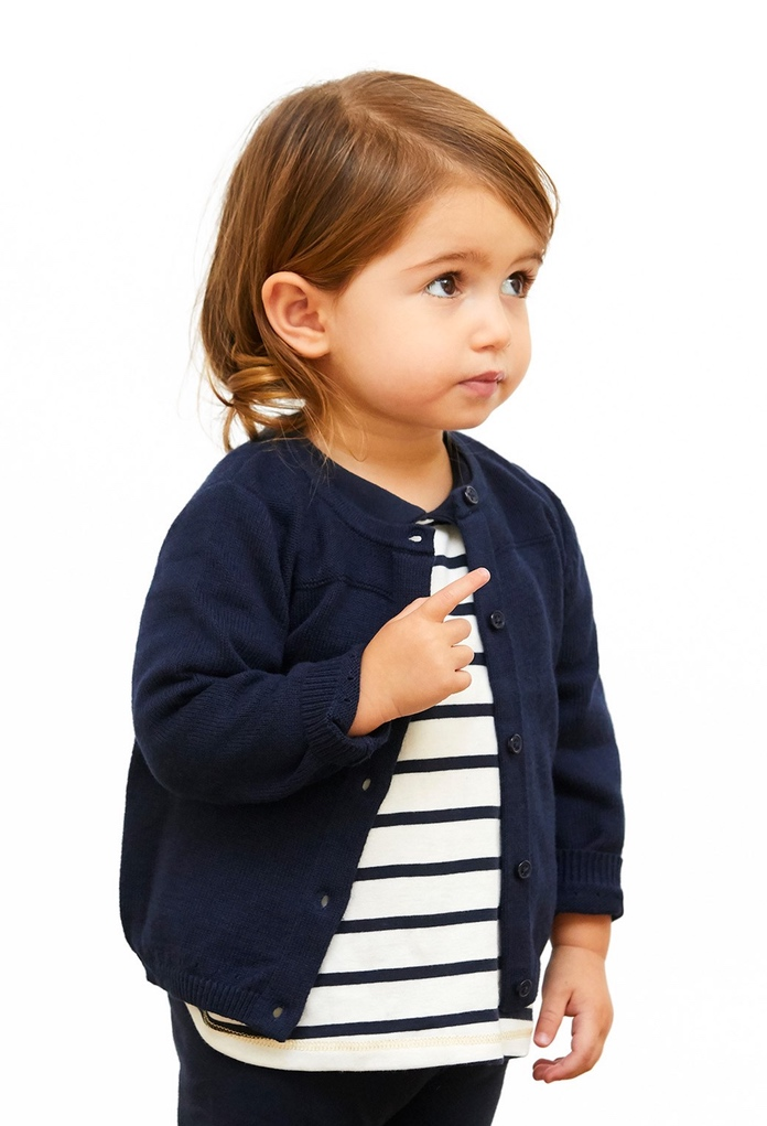 gilet laine et coton bleu navy de la marque petit bateau. Black Bedroom Furniture Sets. Home Design Ideas