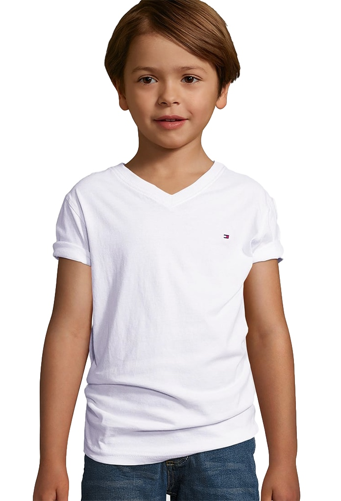 t shirt blanc manches courtes pour enfant de la marque tommy hilfiger. Black Bedroom Furniture Sets. Home Design Ideas